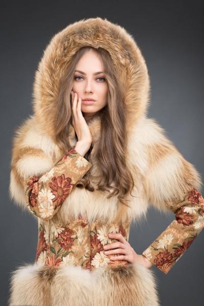 Лера куртка лисица капюшон, 85см, арт № 300-250 шуба из лисы
