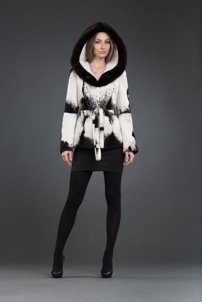 Арина куртка нутрия 70см, капюшон  арт № 800-3110, меховое изделие из нутрии