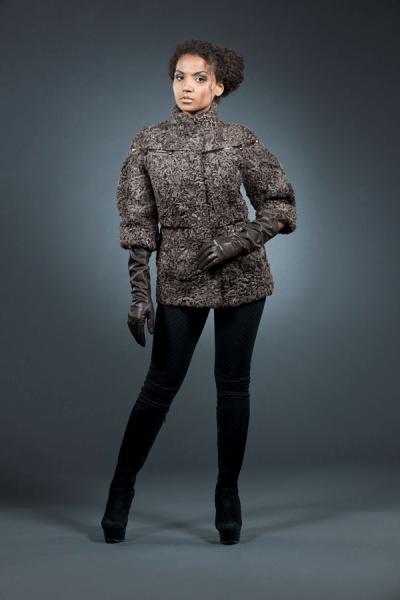 Лара куртка каракуль 65см рукав 3/4 арт № 400-201 шуба из каракуля