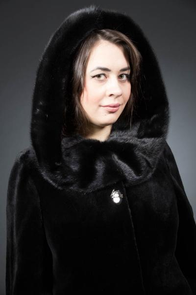 София-френч из меха бобра - 105см, кап. норка, арт. № 600-102