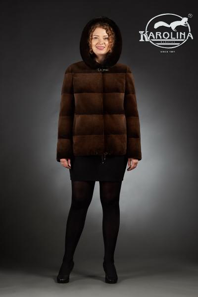 Шуба из нутрии куртка с капюшоном № 800 М-133 К