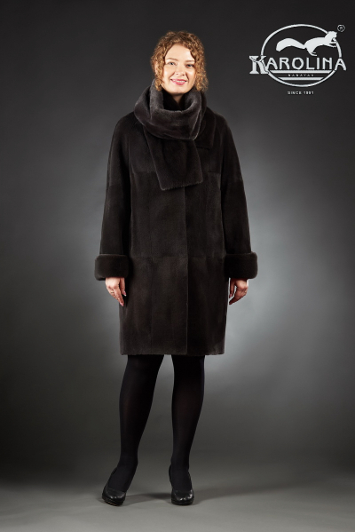 Шуба из нутрии пальто с шарфом из норки № 800 Н-1007 Ш