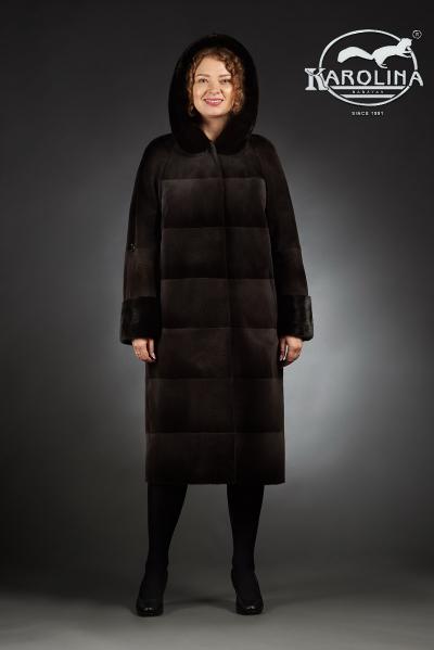 Шуба из нутрии пальто с капюшоном из норки № 800 Н-702 КД