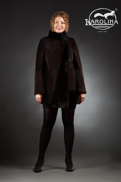 Шуба из нутрии куртка с воротником из норки № 800 Н-1008/2 В