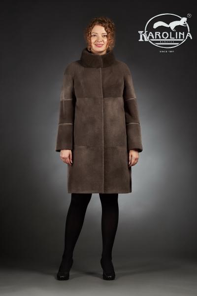 Шуба из нутрии пальто с воротником из норки № 800 Н-1009/3