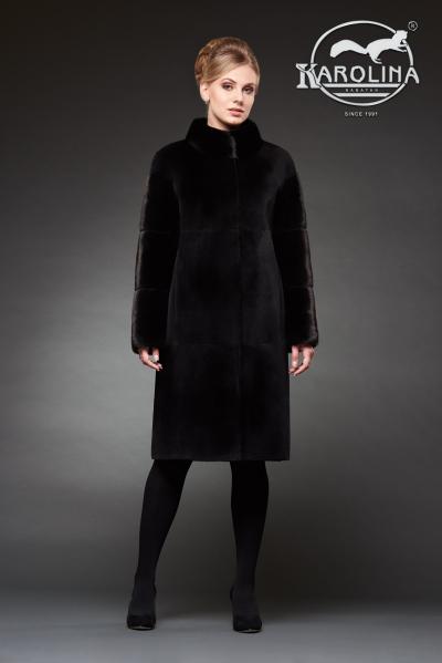 Шуба из нутрии пальто с воротником из норки № 800 Н-1009 В