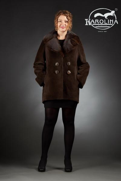 Шуба из нутрии куртка с воротником из норки № 800 Н-1011 В