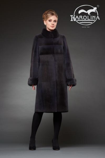 Шуба из нутрии пальто с воротником из норки № 800 Н-1012 В