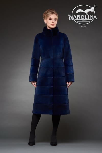 Шуба из нутрии пальто с воротником из норки № 800 Н-1017 В