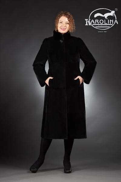 Шуба из нутрии пальто с воротником из норки № 800 Н-401 В