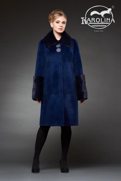 Шуба из нутрии пальто с воротником из норки № 800 Н-444