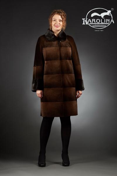 Шуба из нутрии пальто с воротником из норки № 800 Н-700 ВД