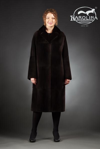 Шуба из нутрии пальто с английским воротником из норки № 800 Н-1016 В