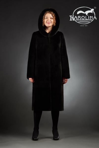 Шуба Анфиса пальто из нутрии с капюшоном отделка норка № 800 Н-401 К