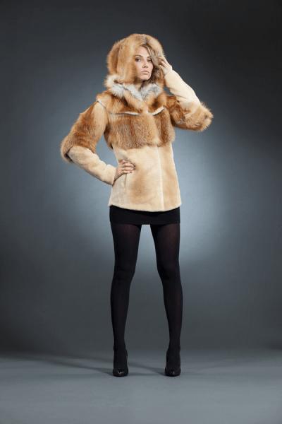 Дайна лисья куртка, капюшон арт № 300-401