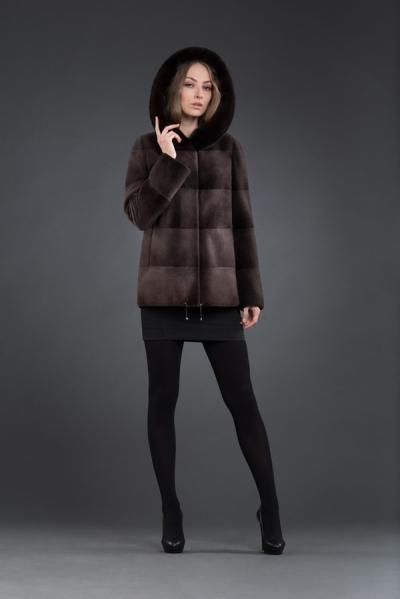 M-133 куртка 70см капюшон  арт № 800-6809, меховое изделие из нутрии
