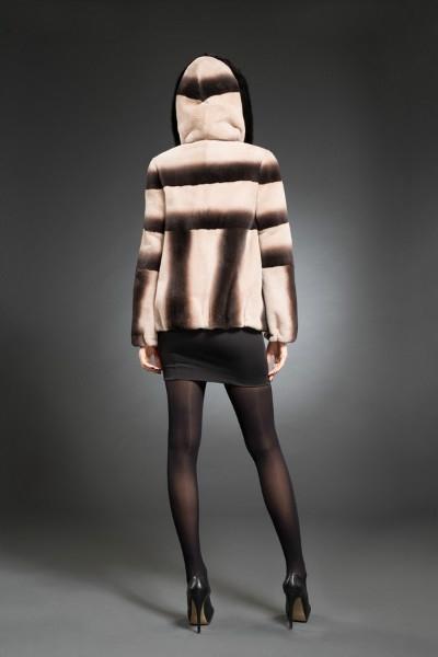 H-170 куртка нутрия, капюшон  арт № 800-8805 меховое изделие из нутрии