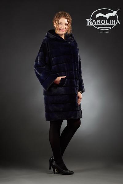 Шуба из норки пальто с капюшоном № НК 385 К