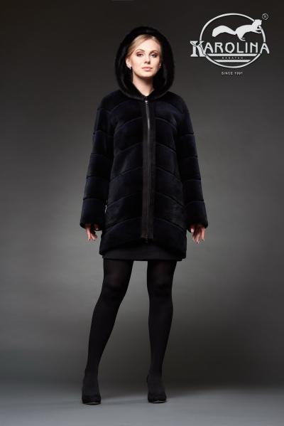 Шуба из нутрии куртка с капюшоном из норки № 800 Н-1014 К