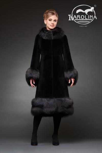 Шуба из нутрии пальто с воротником из лисы № 800 Н-1027 В