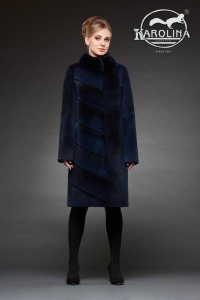 Шуба из нутрии пальто с воротником из норки № 800 Н-1018 В