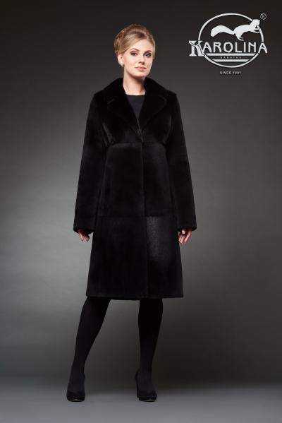 Шуба из нутрии пальто с воротником из норки № 800 Н-1019 В