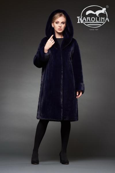 Шуба из норки в роспуск пальто с капюшоном № НК 384 К