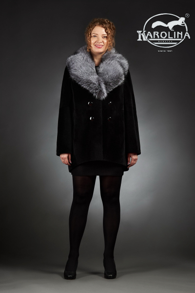 Шуба из нутрии куртка с английским воротником из чернобурки № 800 Н-1011 В
